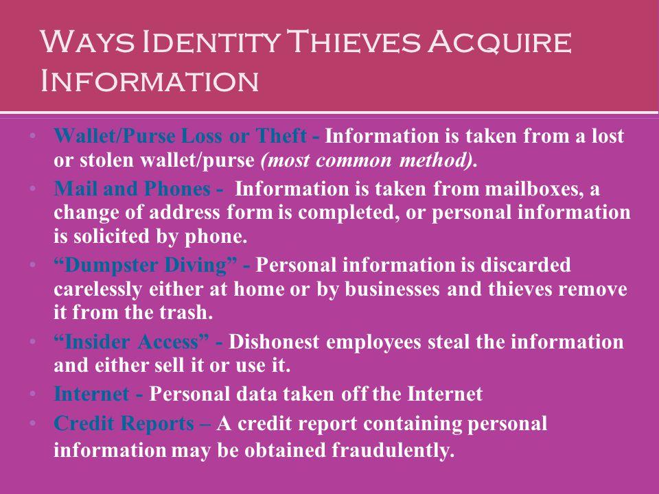 Ways Identity Thieves Acquire Information