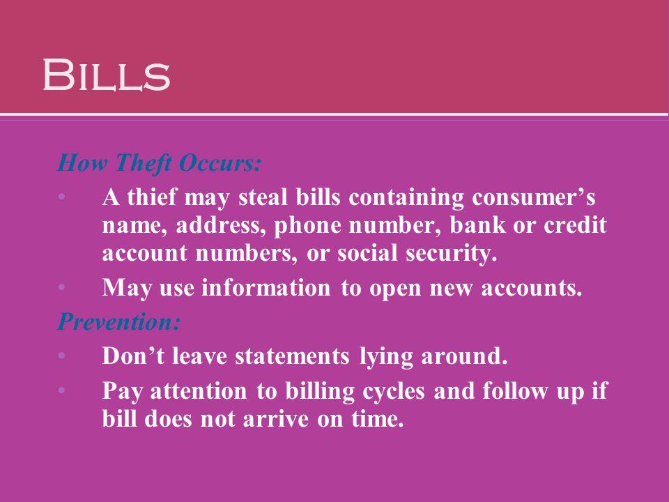 Bills How Theft Occurs:
