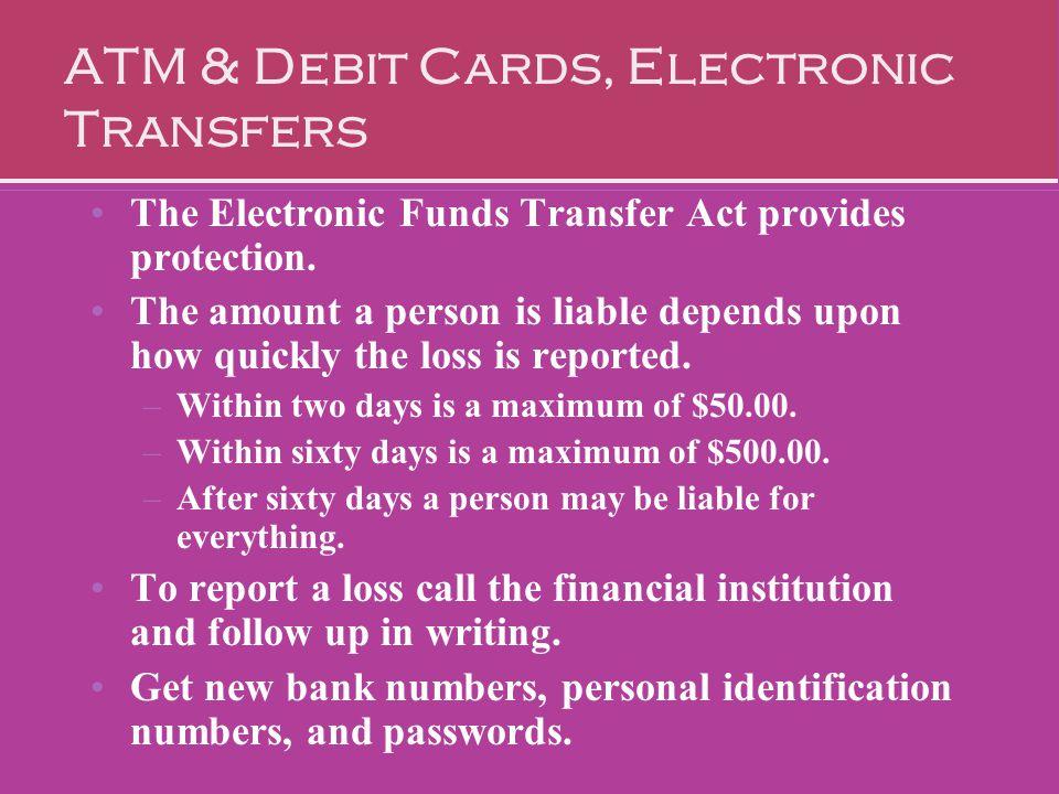 ATM & Debit Cards, Electronic Transfers
