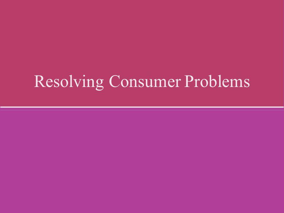 Resolving Consumer Problems