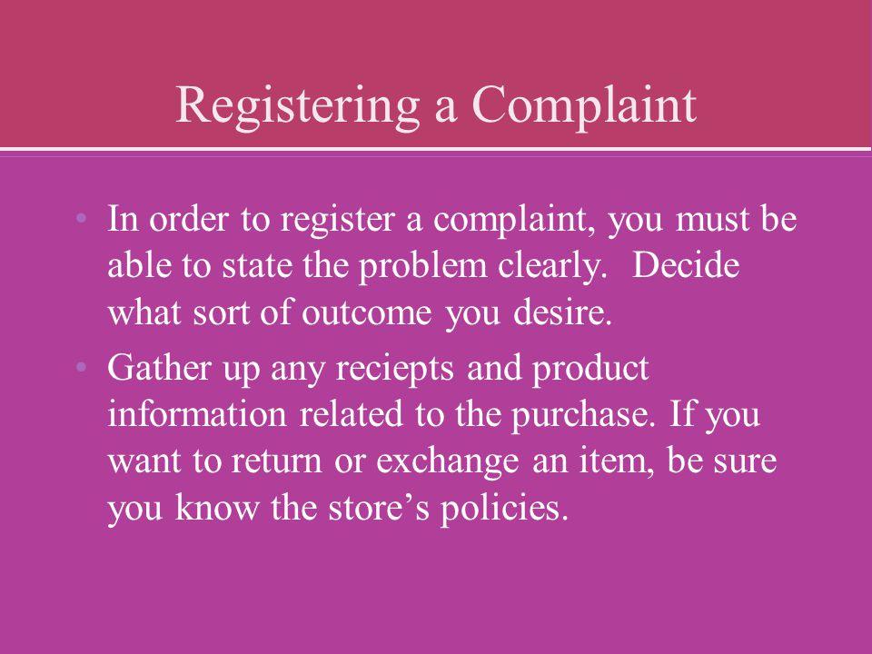 Registering a Complaint