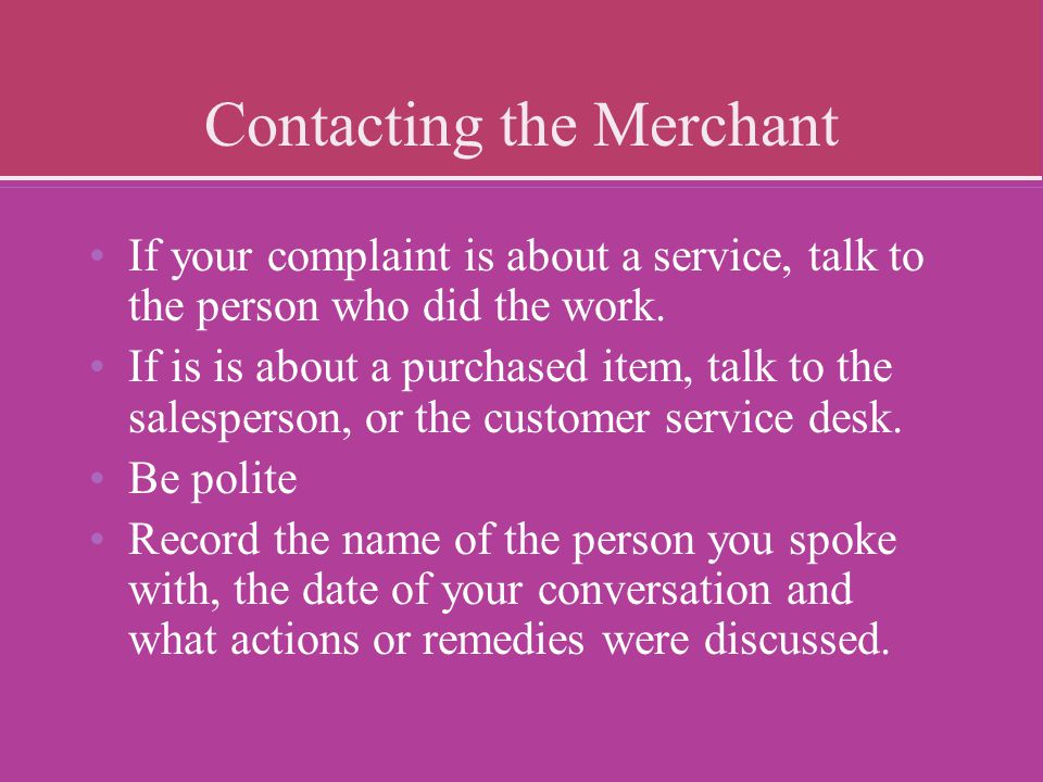 Contacting the Merchant