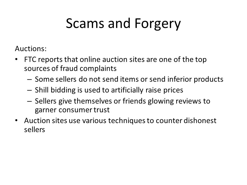 Scams and Forgery Auctions: