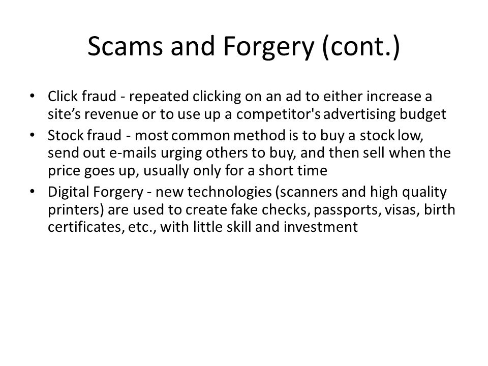 Scams and Forgery (cont.)