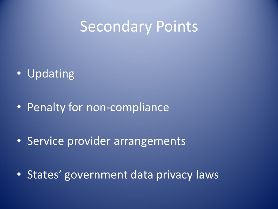 Secondary Points Updating Penalty for non-compliance