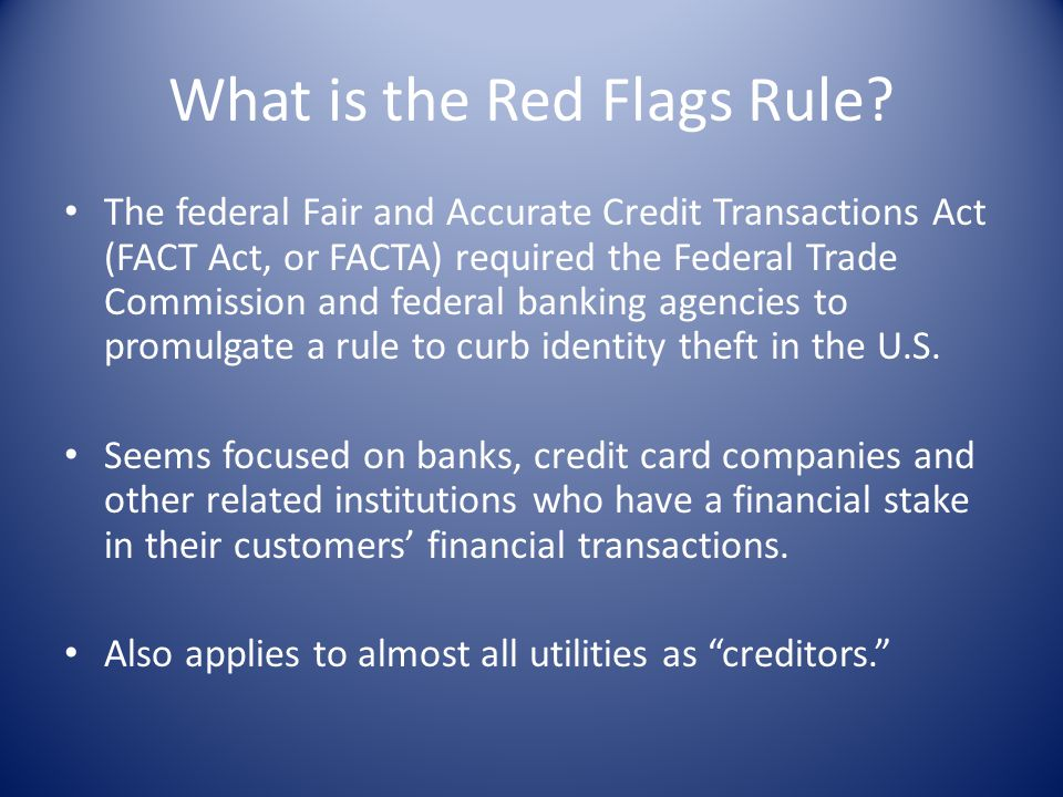 What is the Red Flags Rule