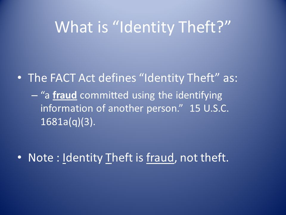 What is Identity Theft