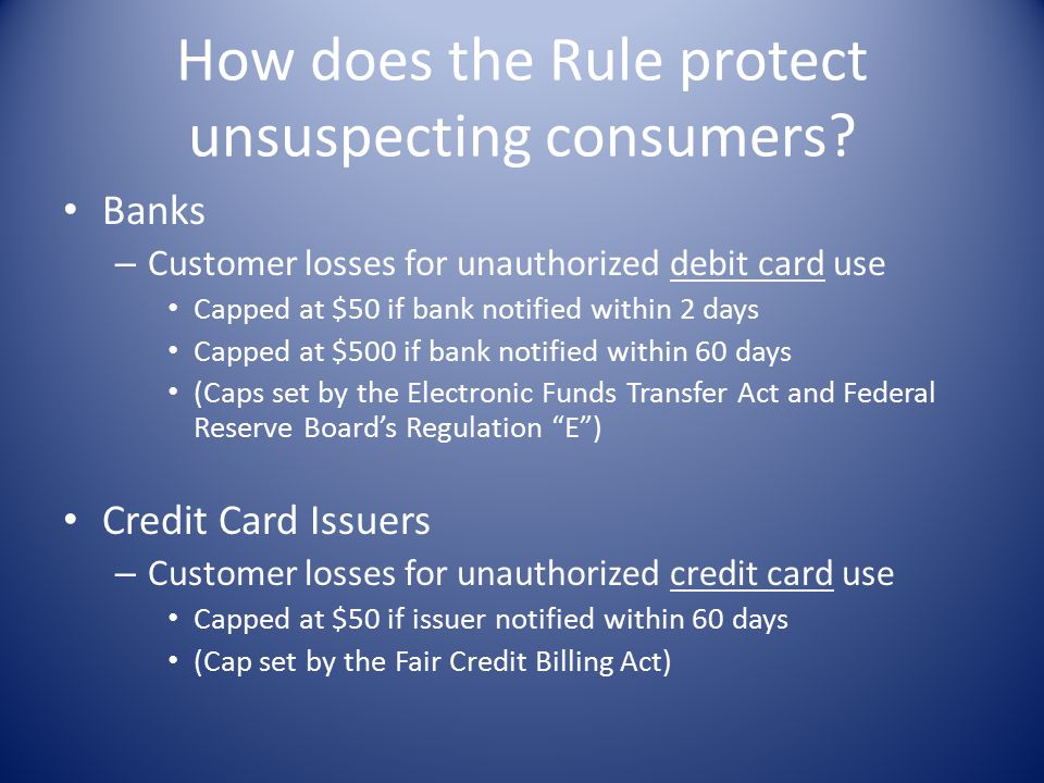 How does the Rule protect unsuspecting consumers