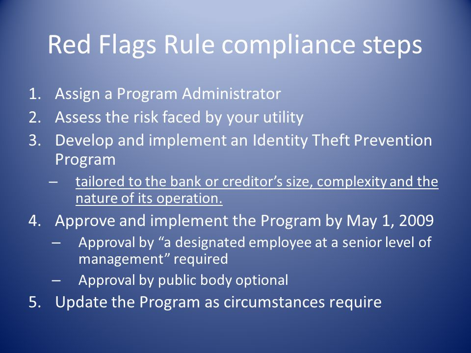 Red Flags Rule compliance steps