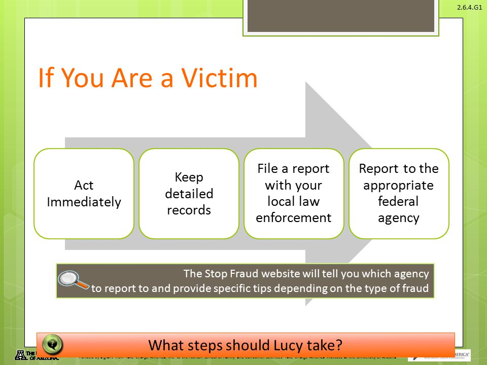 If You Are a Victim What steps should Lucy take