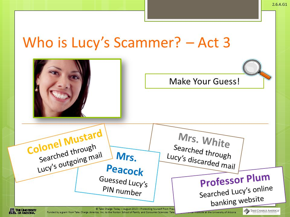 Who is Lucy's Scammer – Act 3