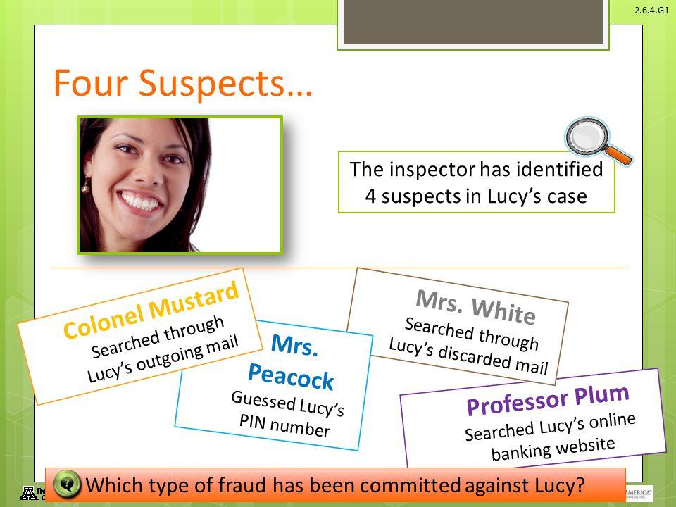 Four Suspects… Mrs. White Colonel Mustard Mrs. Peacock Professor Plum