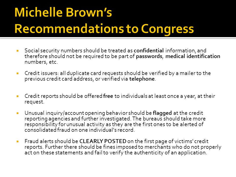 Michelle Brown's Recommendations to Congress