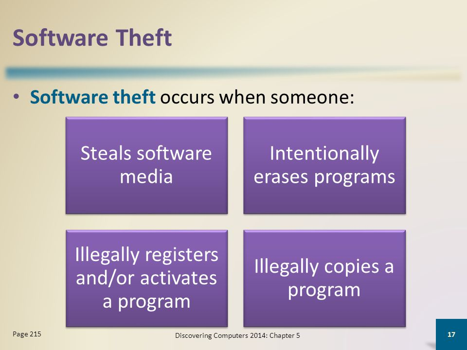 Software Theft Steals software media Intentionally erases programs