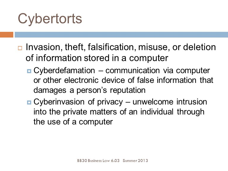 Cybertorts Invasion, theft, falsification, misuse, or deletion of information stored in a computer.
