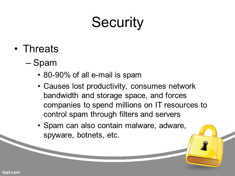 Security Threats Spam 80-90% of all e-mail is spam