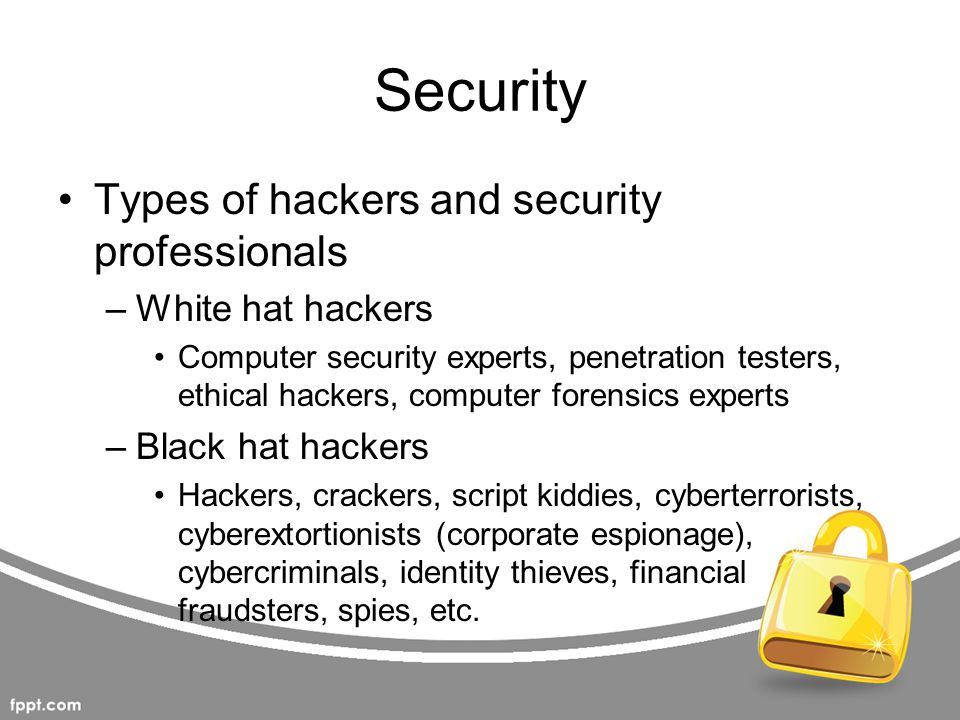 Security Types of hackers and security professionals White hat hackers