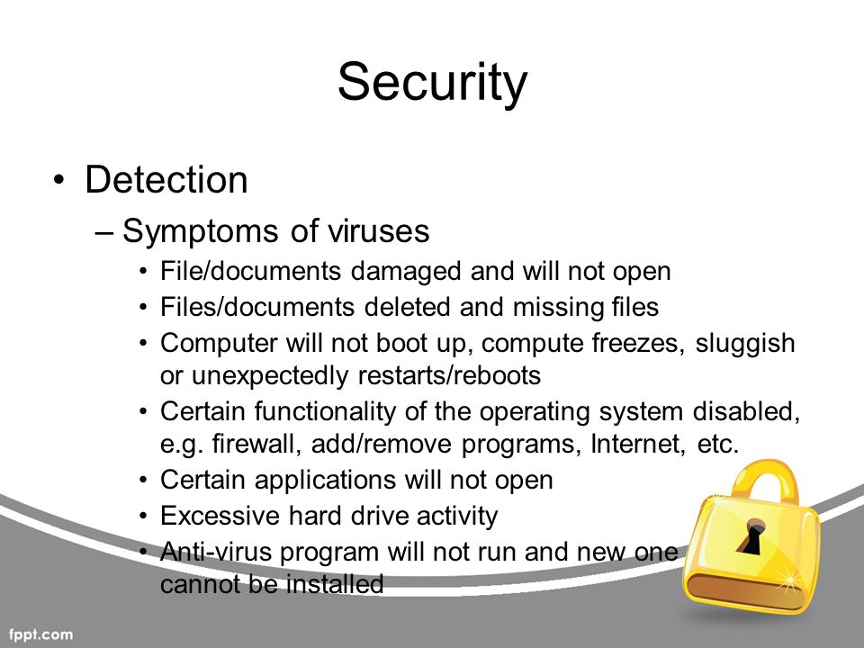 Security Detection Symptoms of viruses
