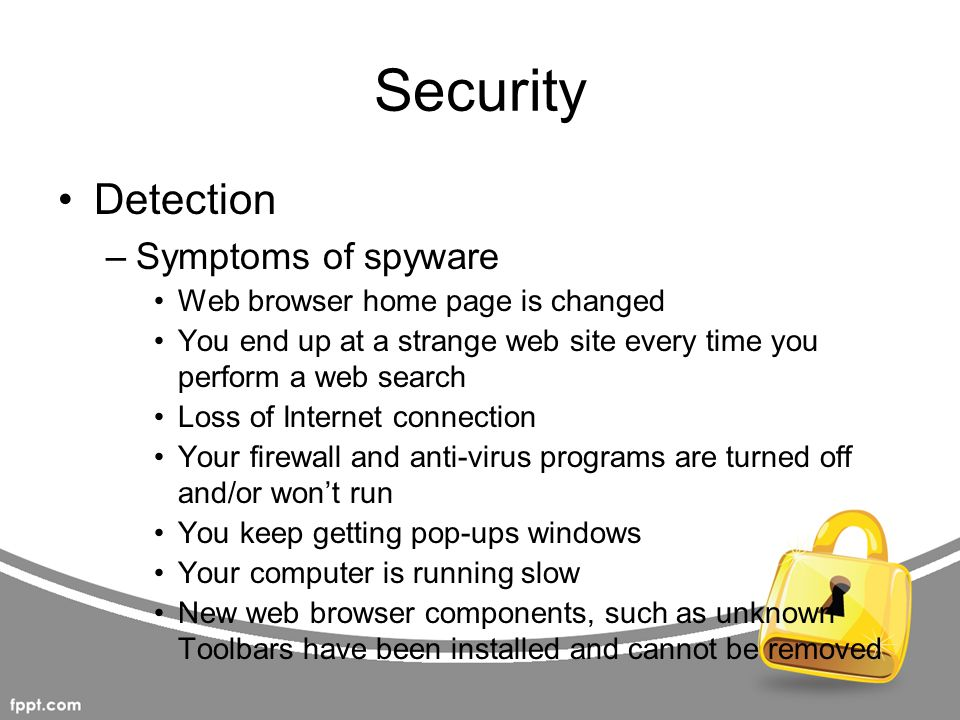 Security Detection Symptoms of spyware