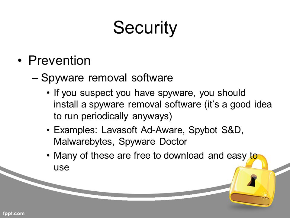 Security Prevention Spyware removal software