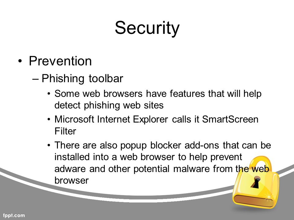 Security Prevention Phishing toolbar