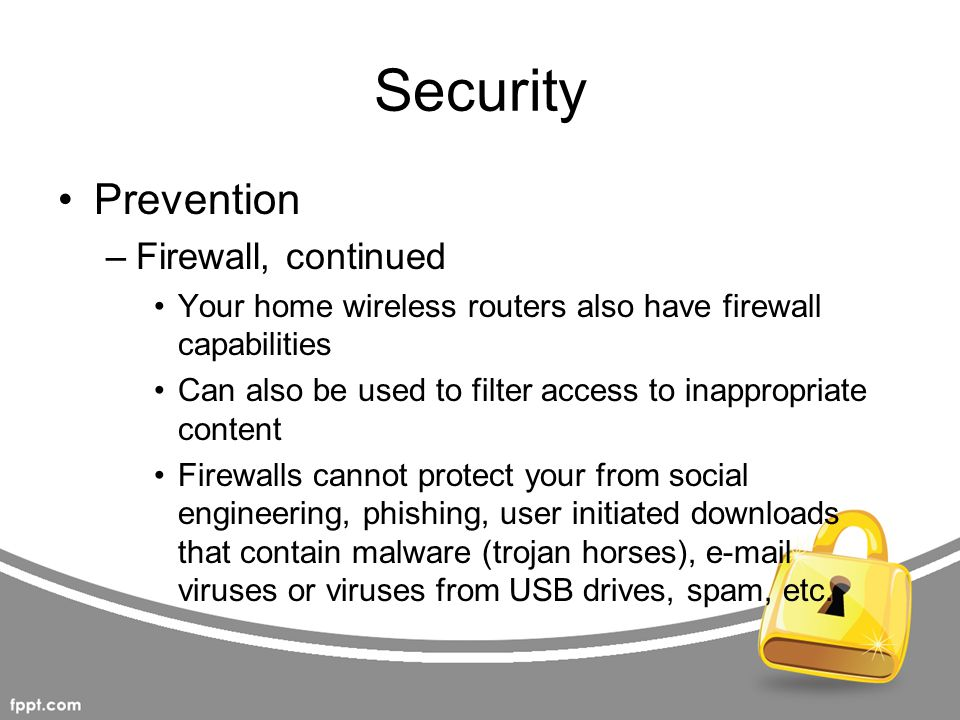 Security Prevention Firewall, continued