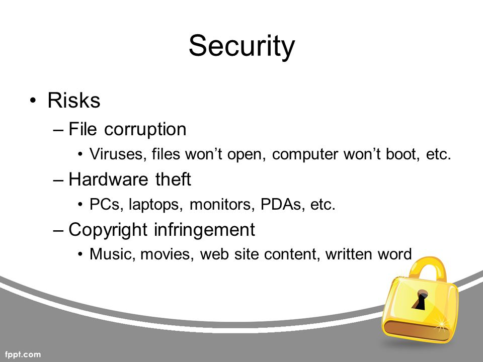 Security Risks File corruption Hardware theft Copyright infringement