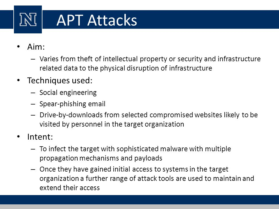APT Attacks Aim: Techniques used: Intent: