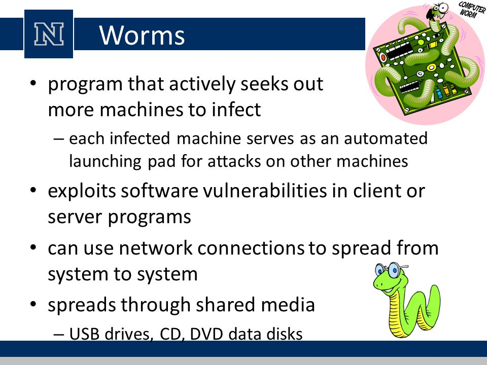 Worms program that actively seeks out more machines to infect