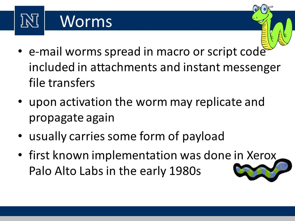 Worms e-mail worms spread in macro or script code included in attachments and instant messenger file transfers.