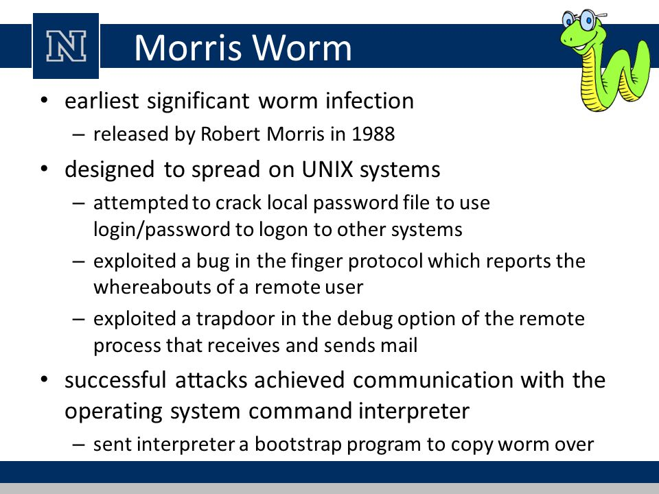 Morris Worm earliest significant worm infection