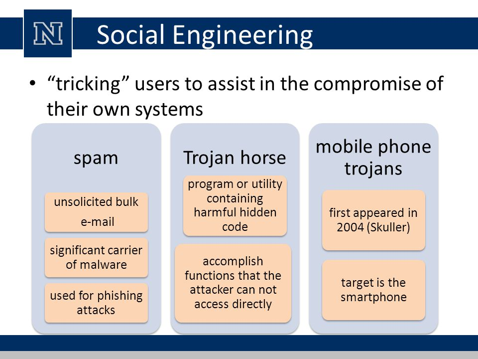 Social Engineering tricking users to assist in the compromise of their own systems. spam. Trojan horse.