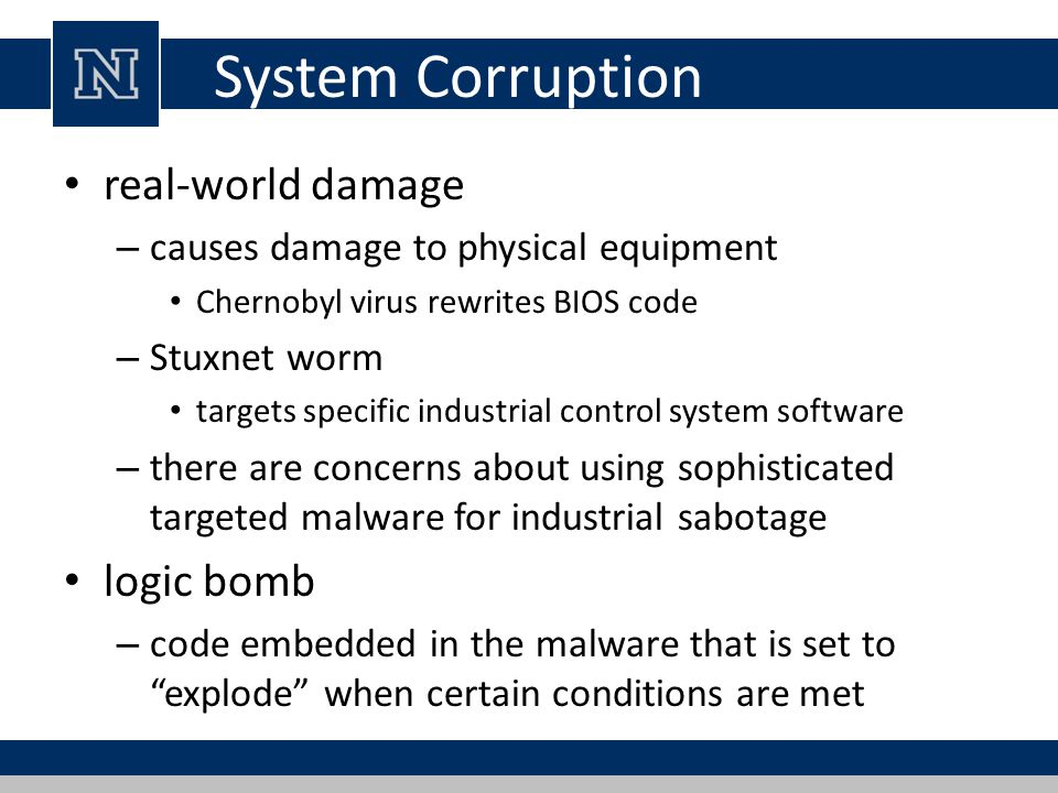 System Corruption real-world damage logic bomb