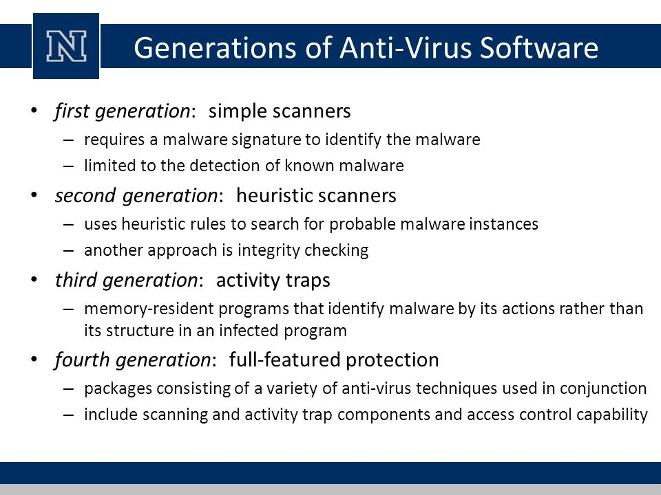 Generations of Anti-Virus Software