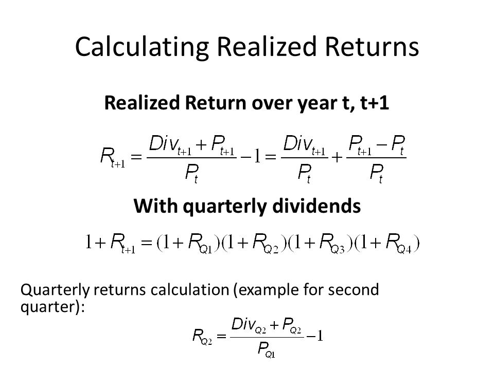 Calculating Realized Returns