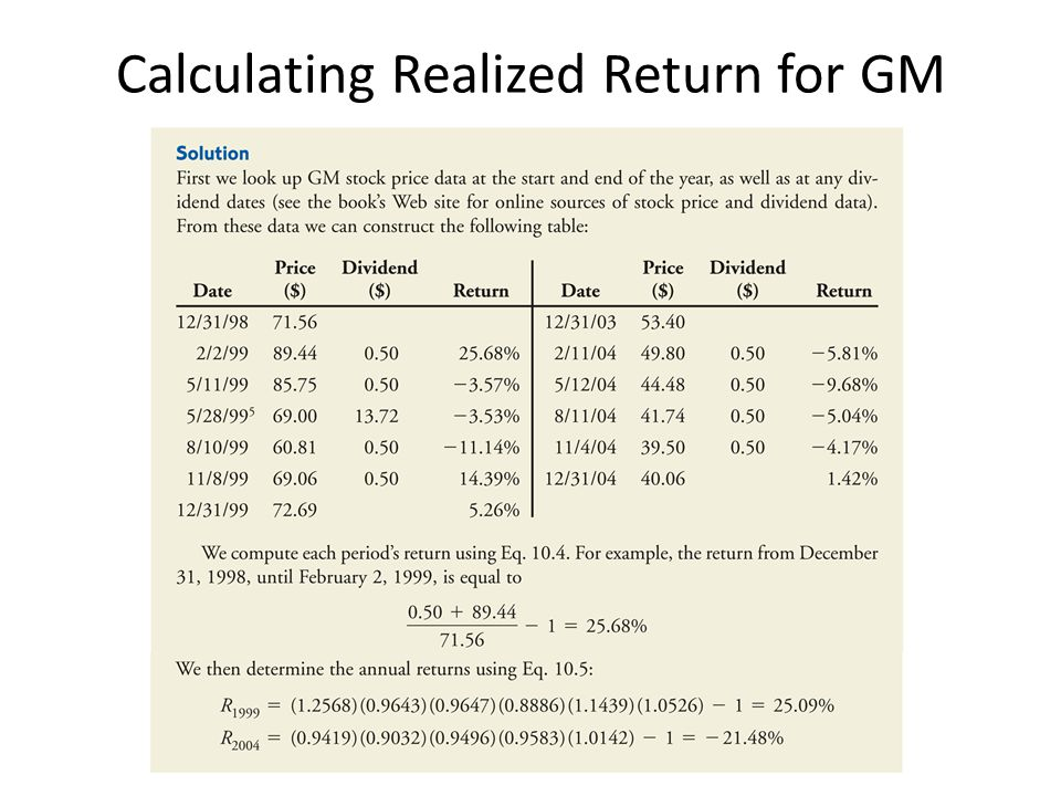Calculating Realized Return for GM