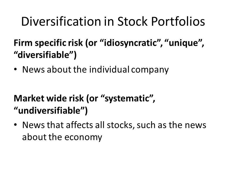 Diversification in Stock Portfolios