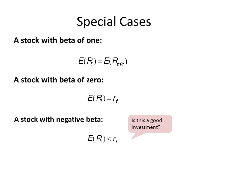 Special Cases A stock with beta of one: A stock with beta of zero: