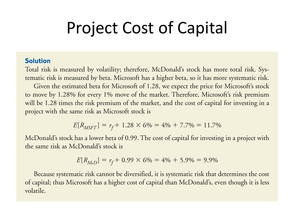 Project Cost of Capital