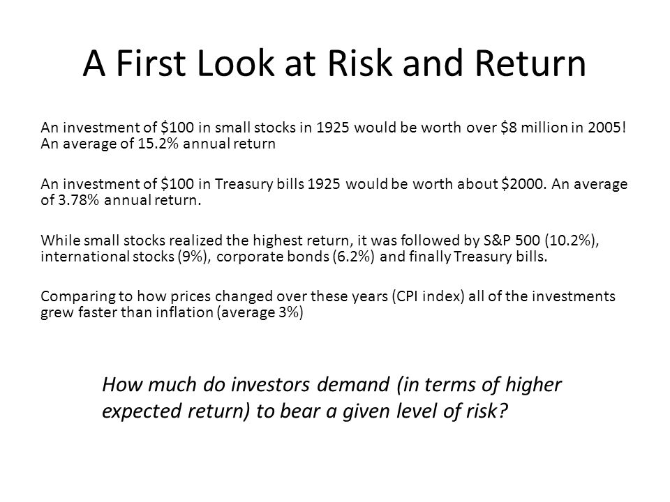 A First Look at Risk and Return