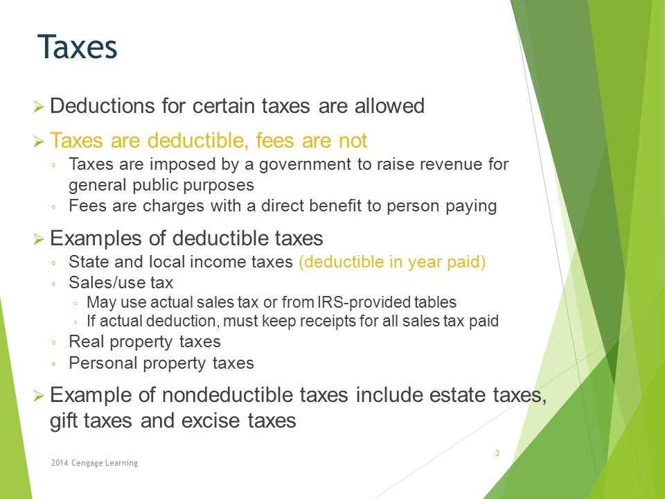 Taxes Deductions for certain taxes are allowed