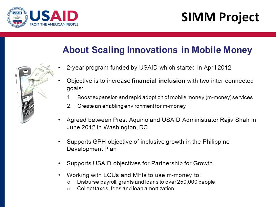 SIMM Project About Scaling Innovations in Mobile Money
