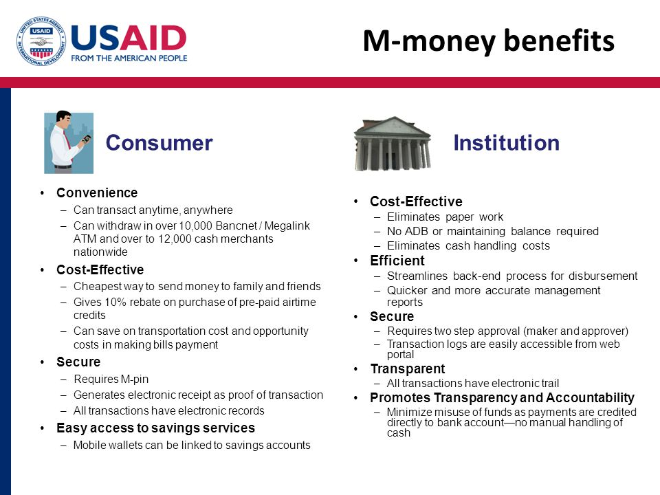 M-money benefits Consumer Institution Cost-Effective Efficient