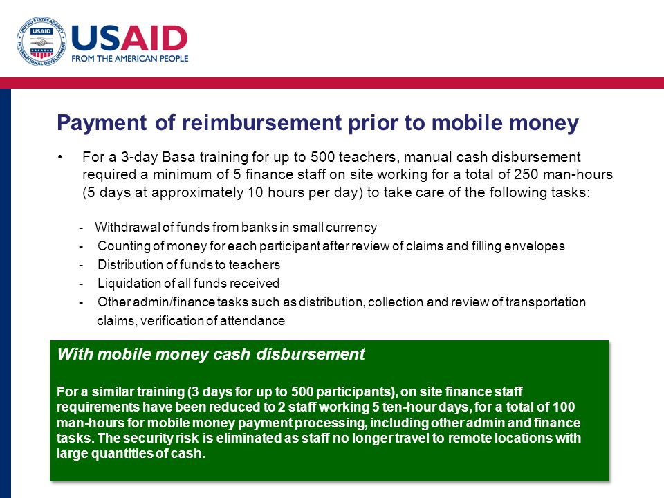 Payment of reimbursement prior to mobile money