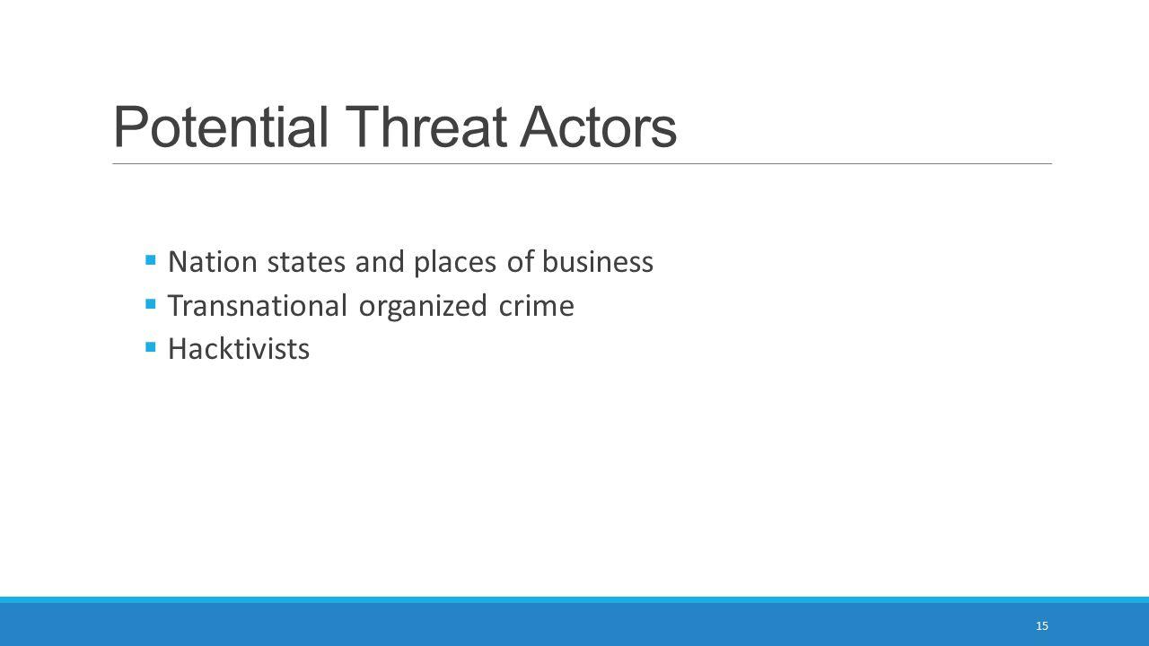 Potential Threat Actors
