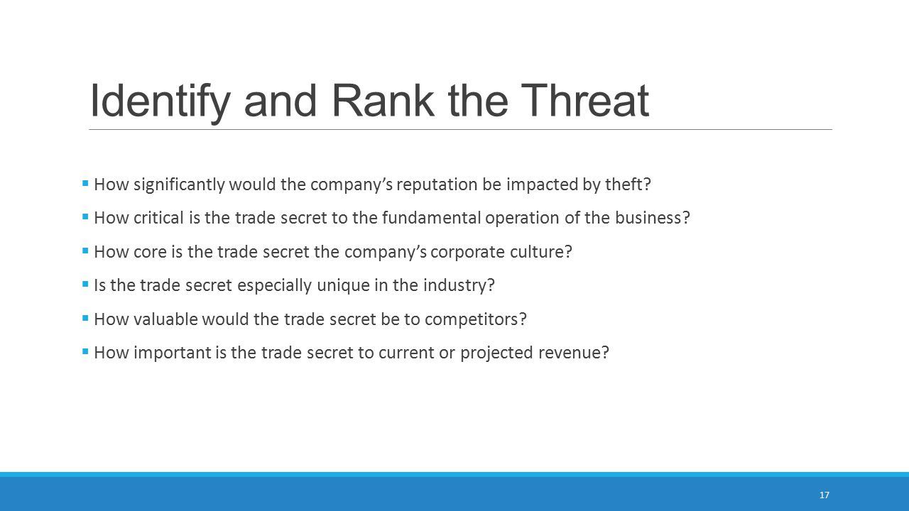 Identify and Rank the Threat