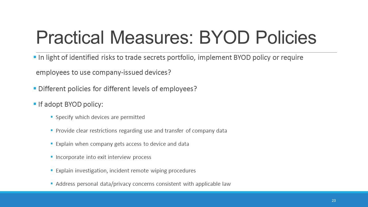 Practical Measures: BYOD Policies