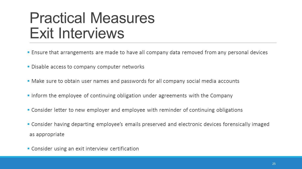 Practical Measures Exit Interviews