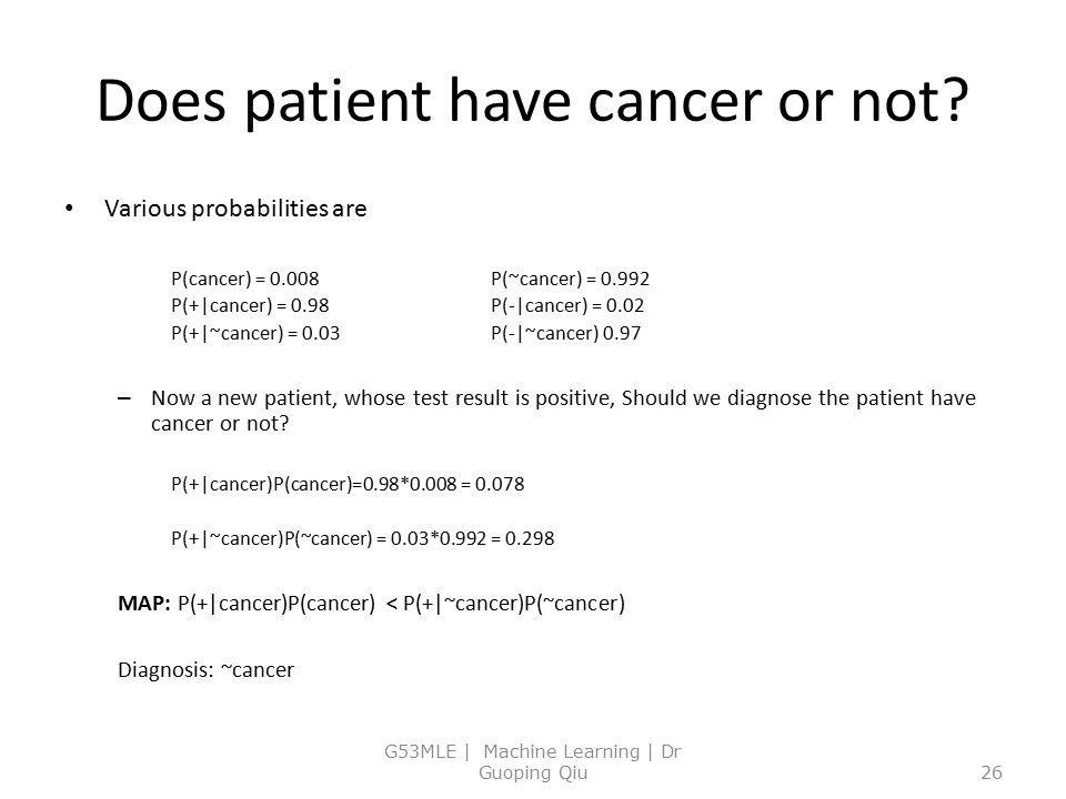Does patient have cancer or not