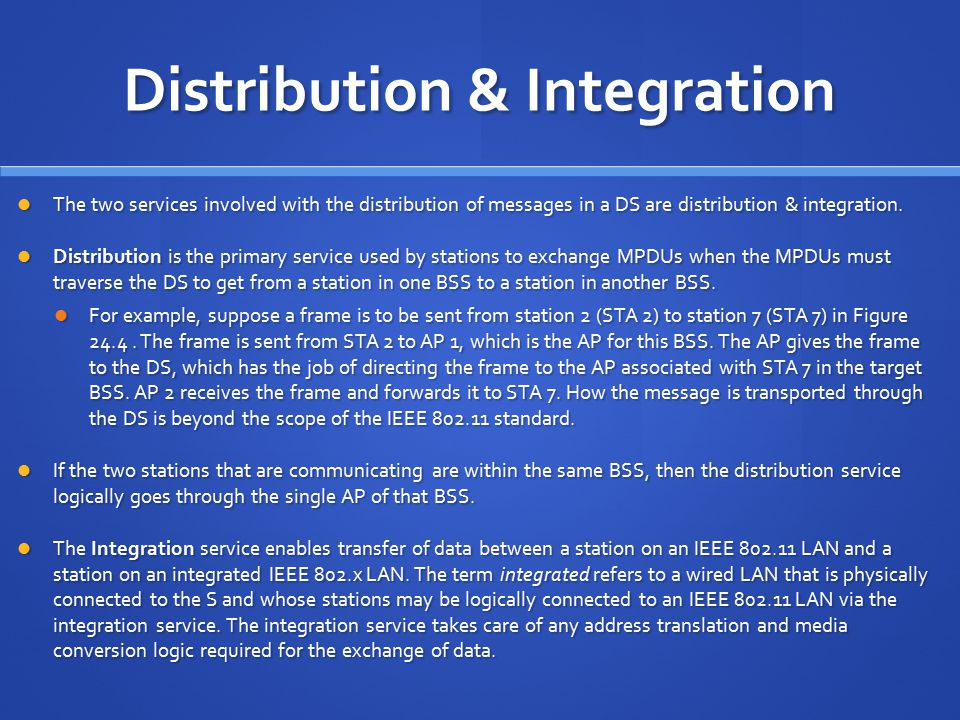 Distribution & Integration